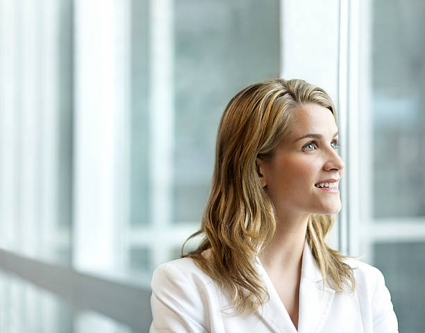 Beautiful Woman Looking to the Future stock photo