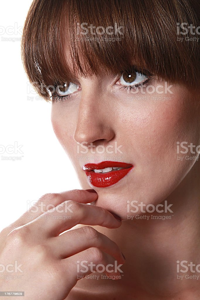 beautiful woman / looks beside stock photo