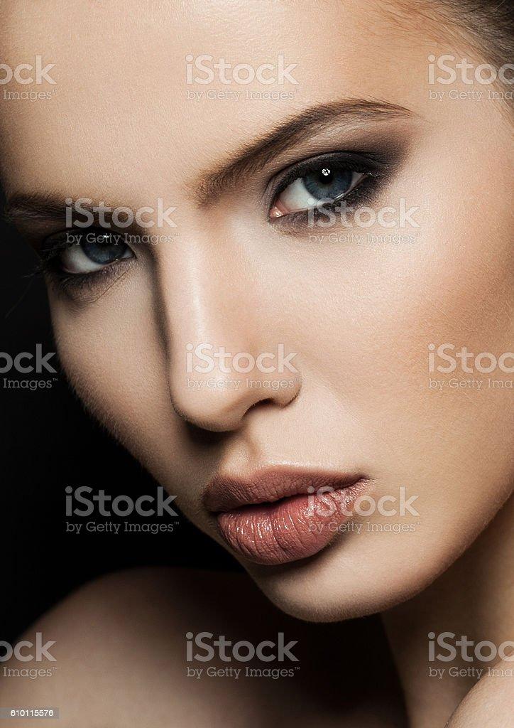 Beautiful woman model portrait with red lips closeup stock photo