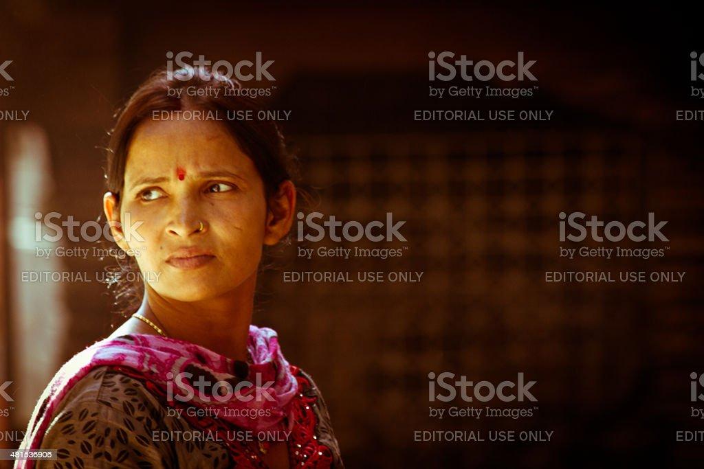 Beautiful woman of Kathmandu, Nepal looks away stock photo