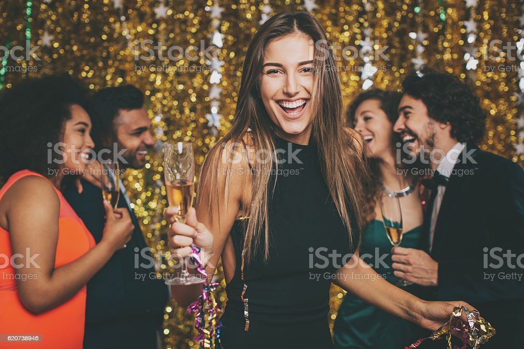 Beautiful woman on a formal party stock photo