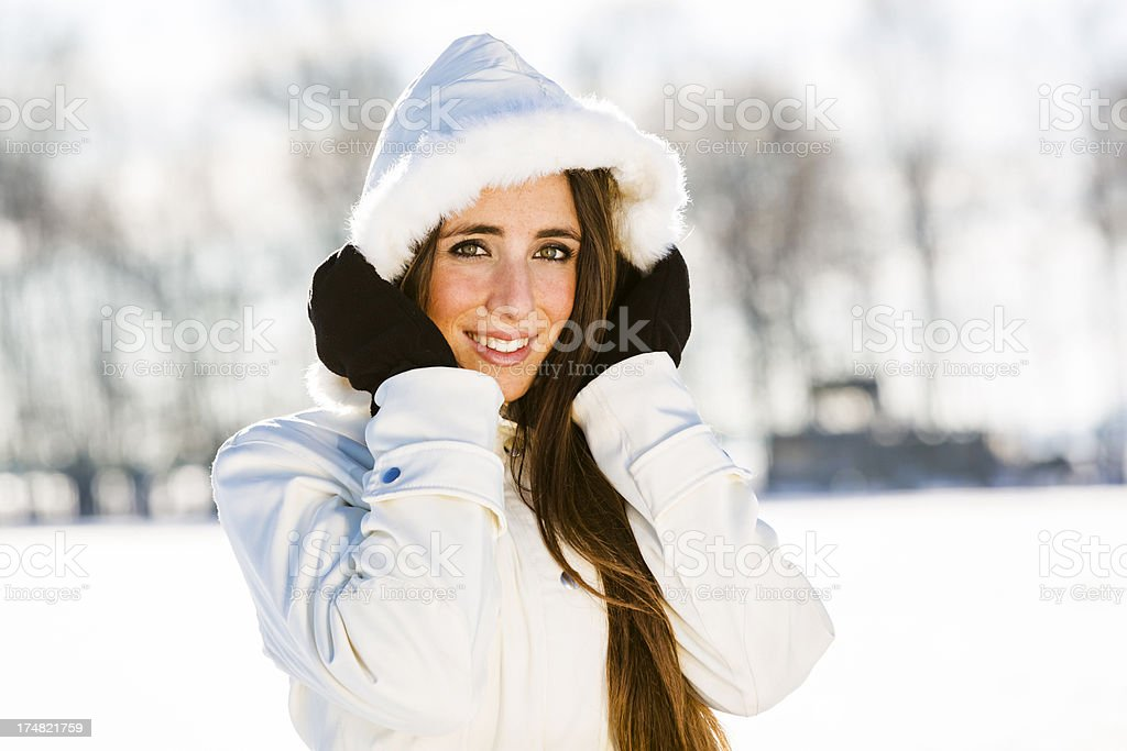 Beautiful Woman on a Snowy landscape royalty-free stock photo