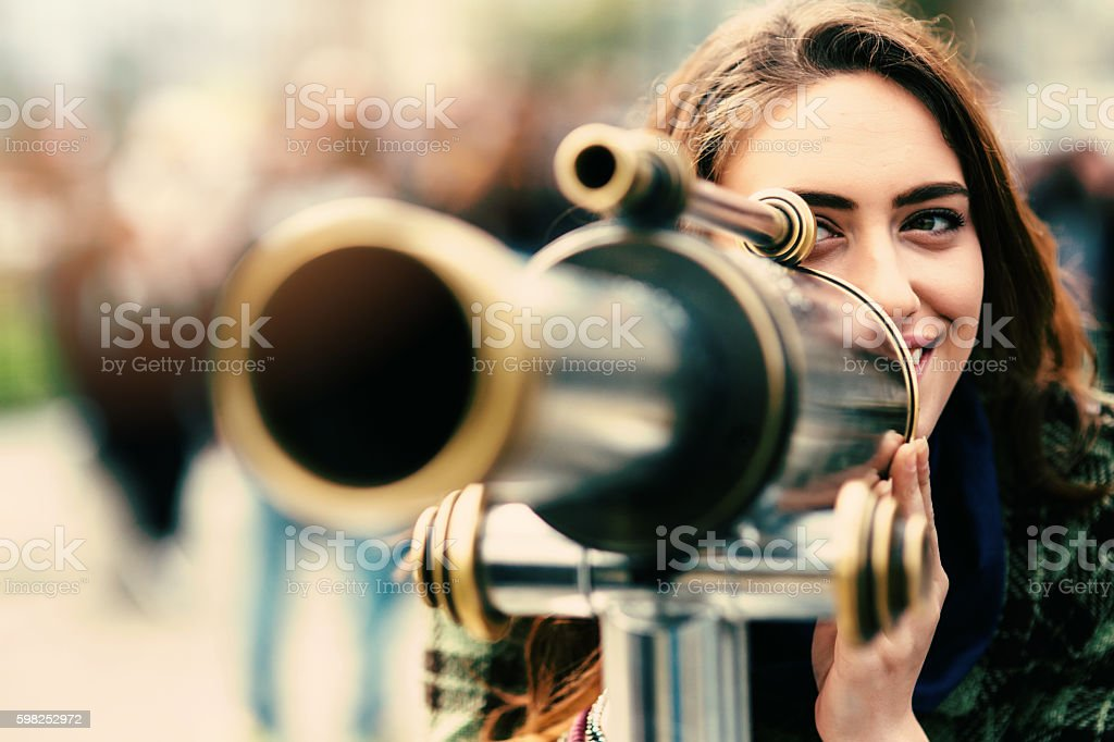 Beautiful woman on an observation deck stock photo