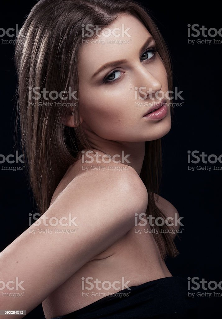 Beautiful woman on black background royaltyfri bildbanksbilder