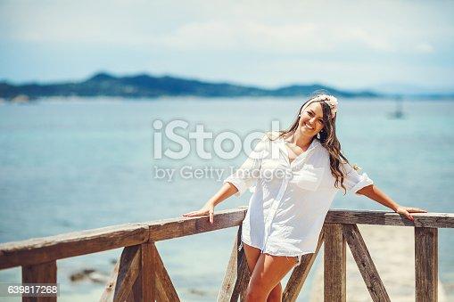 670374358 istock photo Beautiful woman on hot summer day 639817268