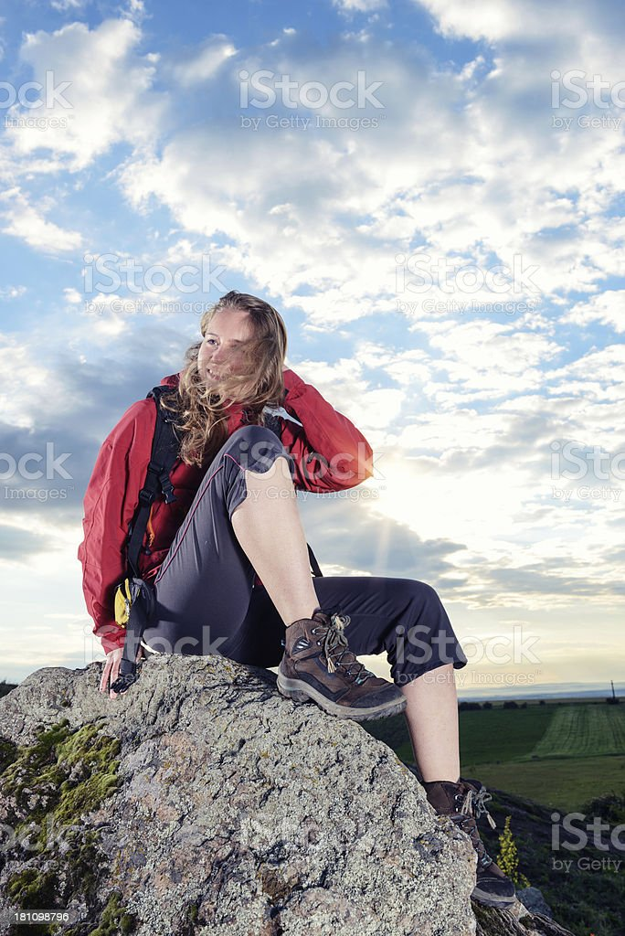 Beautiful woman on mountain's peak royalty-free stock photo