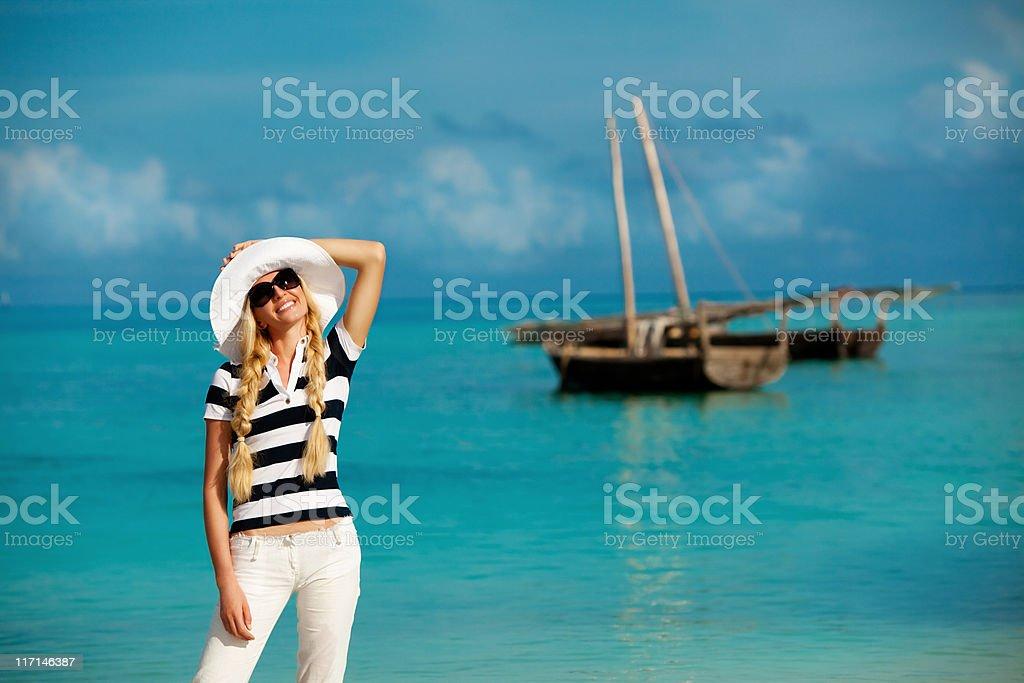 Beautiful woman on sea vacation royalty-free stock photo