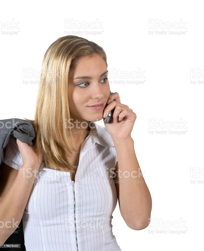 Beautiful woman on the mobil phone stock photo