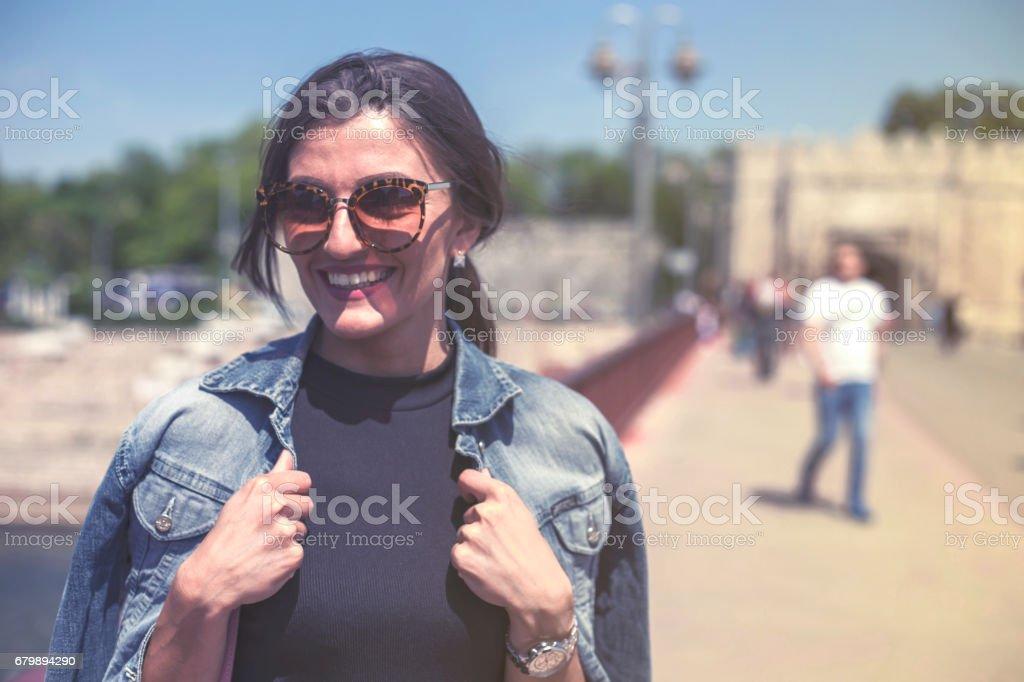 Beautiful woman on the street stock photo