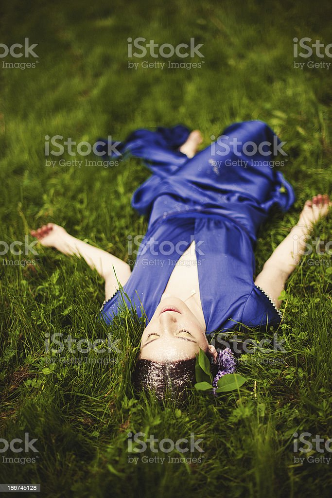 Beautiful woman outdoors stock photo