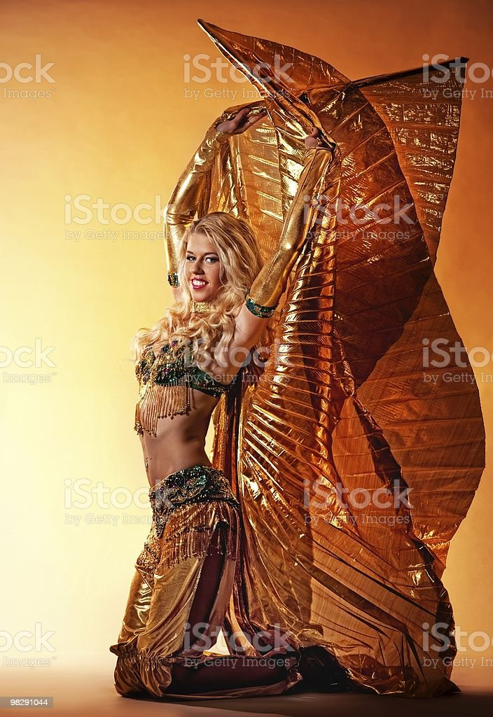 Beautiful woman performing arabic dance royalty-free stock photo
