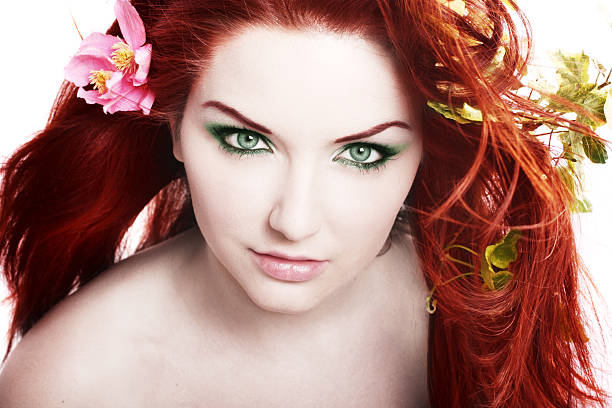 beautiful woman - woman green eyes red hair stock photos and pictures
