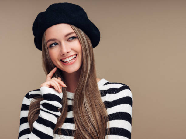 Beautiful woman Beautiful woman beret stock pictures, royalty-free photos & images