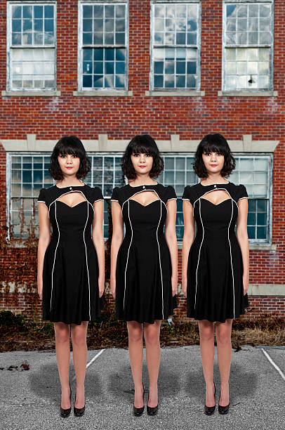 beautiful woman - triplets stock photos and pictures