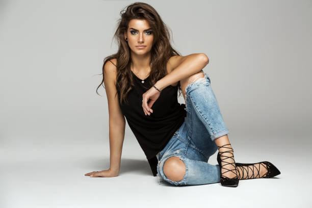beautiful woman - jeans stock photos and pictures