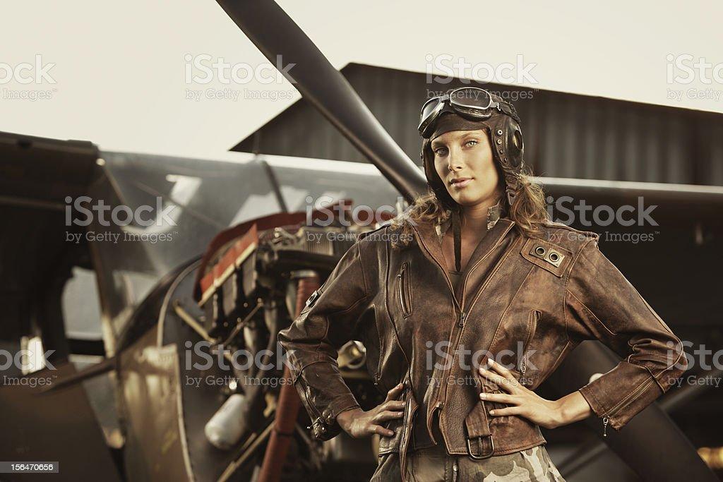 Beautiful woman pilot: vintage photo royalty-free stock photo