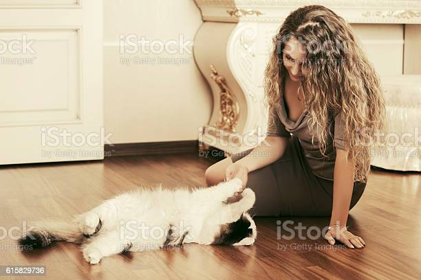 Beautiful woman playing with a cat at apartment picture id615829736?b=1&k=6&m=615829736&s=612x612&h=rqqy1hf6h0csy3u hfjo83e9lymqjsqfhxgijrmpprm=