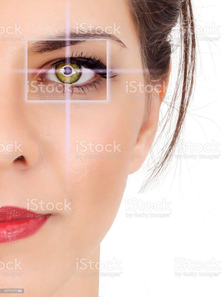 beautiful woman pointing to eye stock photo