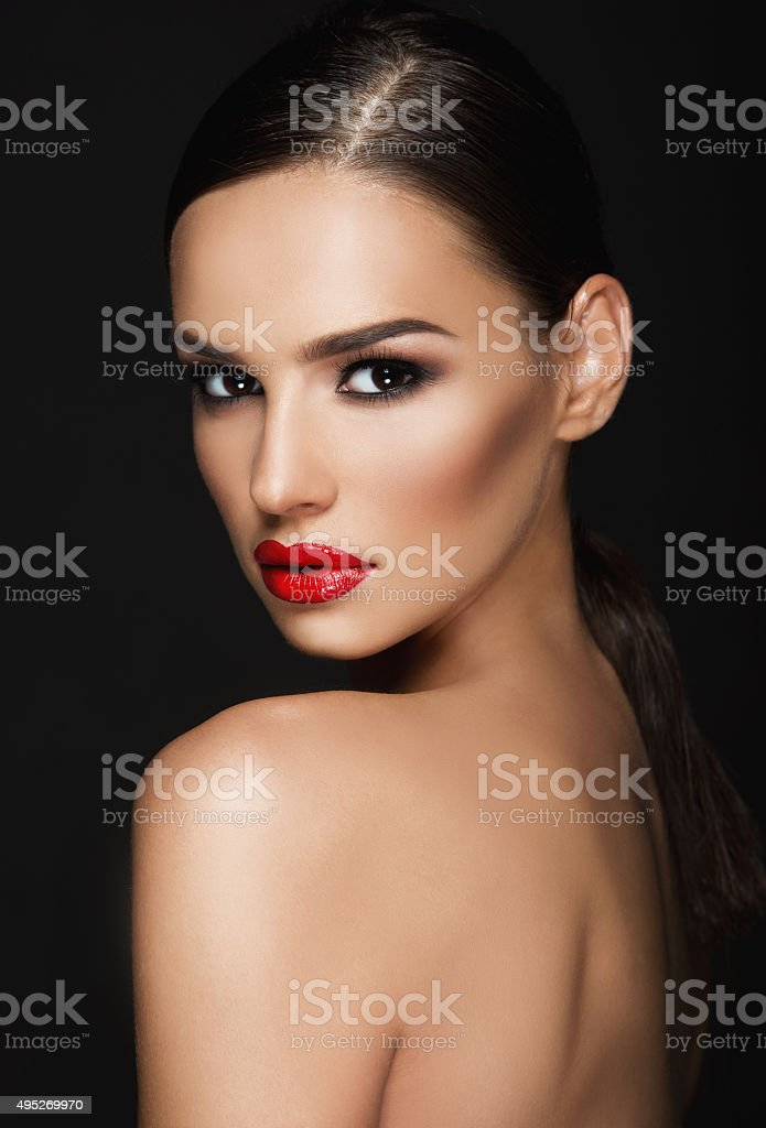 Beautiful woman portrait, beauty on dark background stock photo