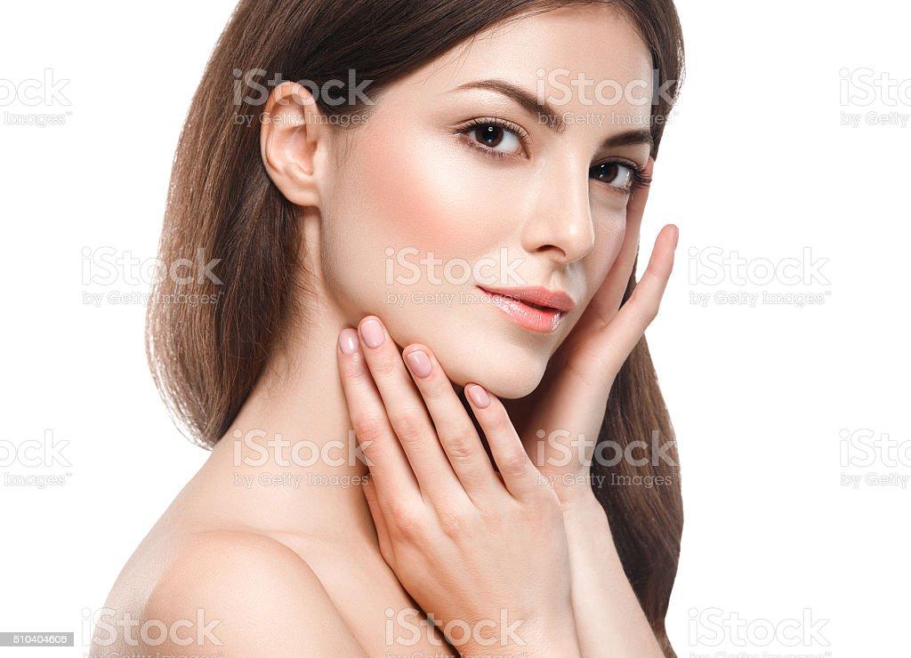 Beautiful woman portrait face close up studio on white stock photo