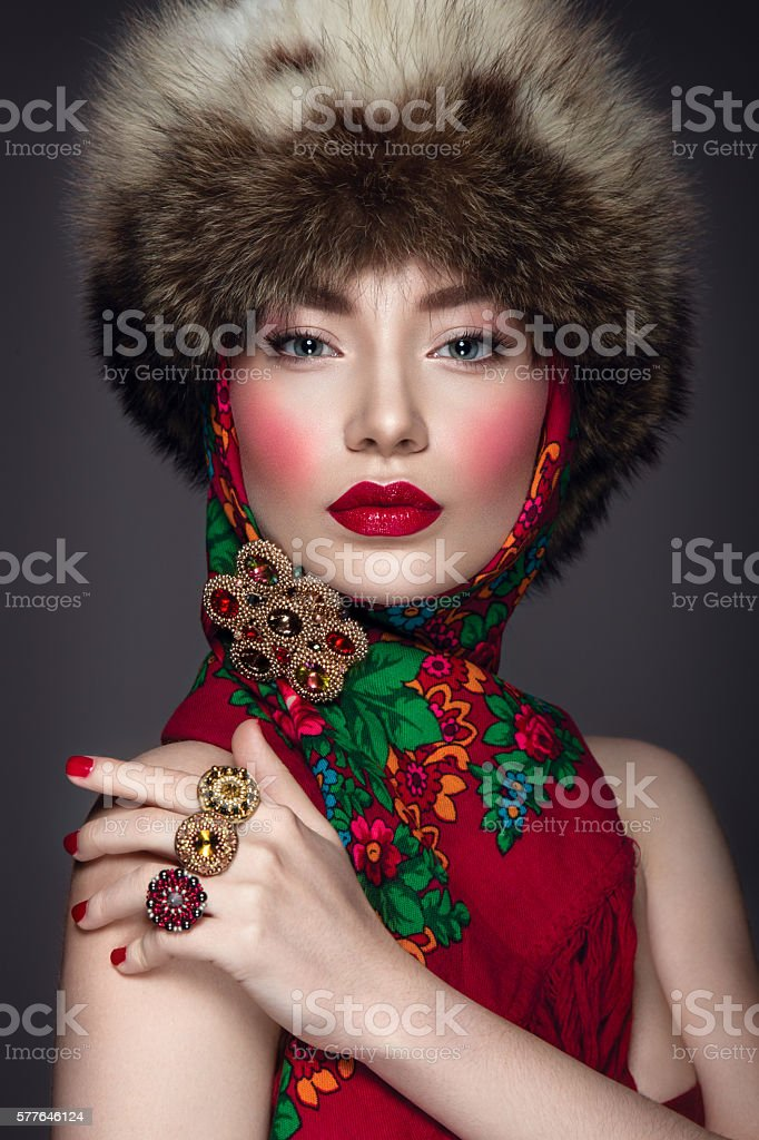 Beautiful woman portrait in russian style ストックフォト