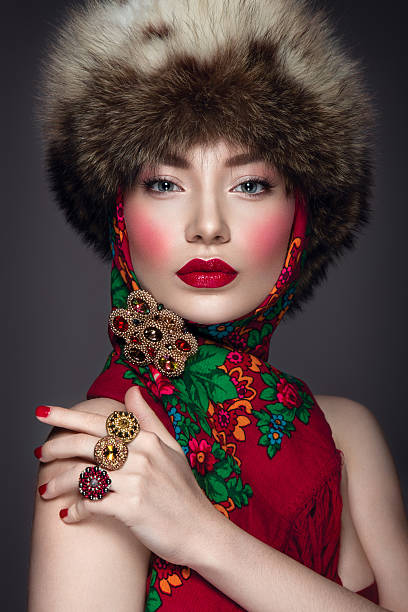 Beautiful woman portrait in russian style stock photo