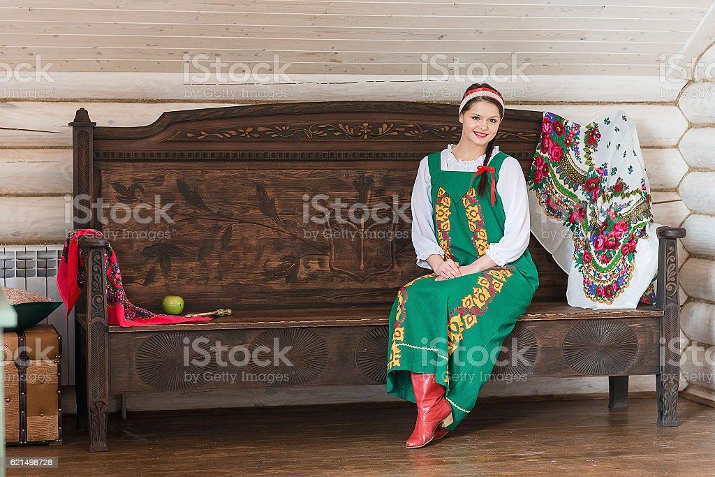 Schöne Frau Porträt im russischen Stil Lizenzfreies stock-foto