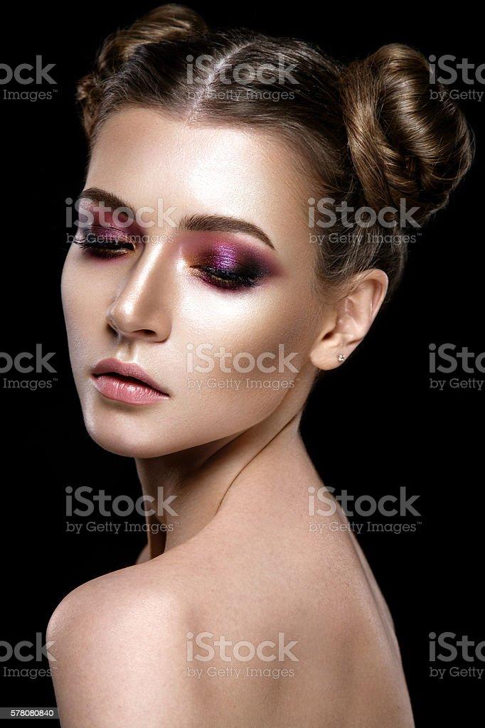 Beautiful woman portrait isolated on black background. stock photo