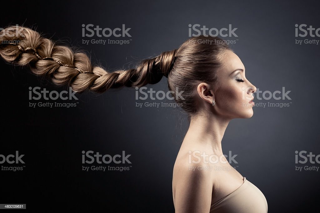 Beautiful Woman Portrait. Long Brown Hair stock photo