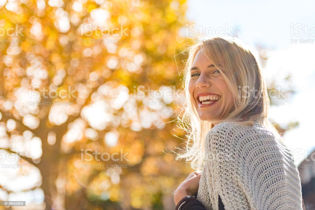 Beautiful woman portrait on the street stock photo