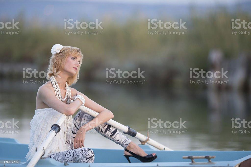 Beautiful woman portrait outdoors stock photo