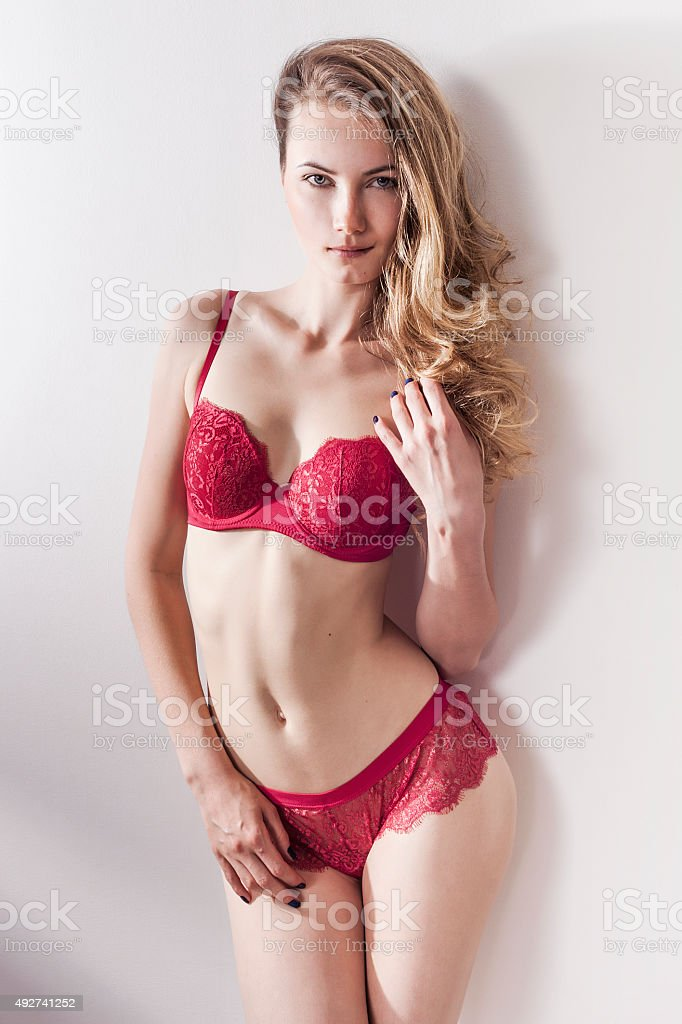 Beautiful Woman Portrait Wearing Red Lingerie And Smiling ...