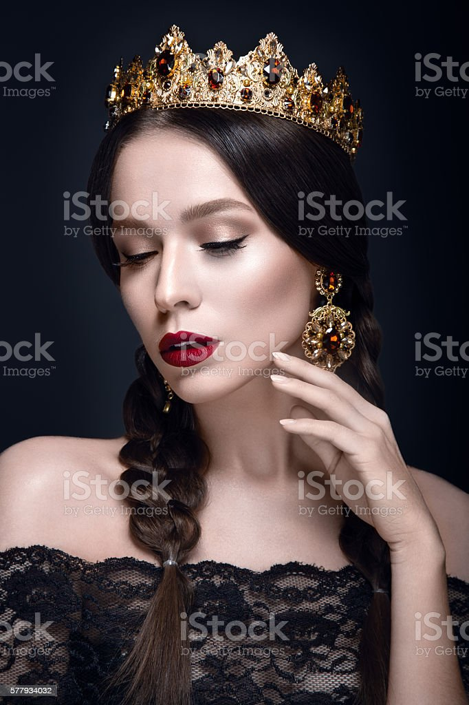 Beautiful woman portrait with crown stock photo