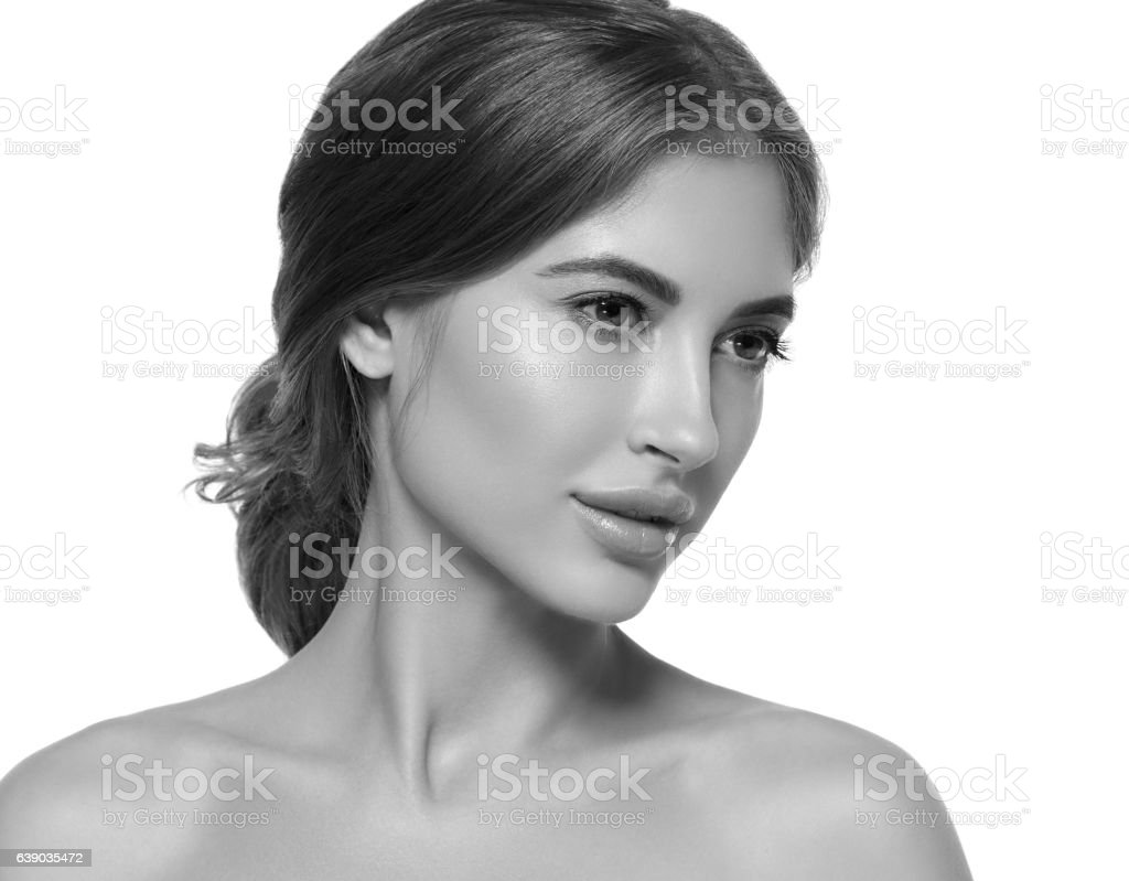 Beautiful Woman Portrait With Fresh Makeup Black And White Stock