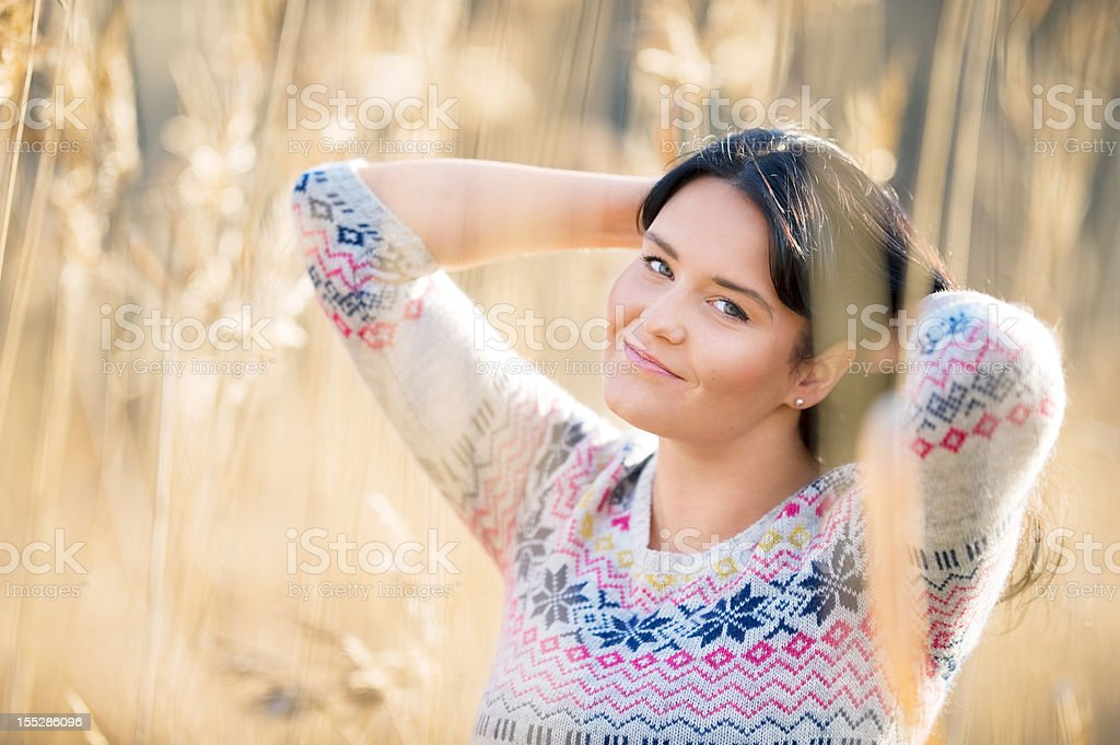 Beautiful woman posing outdoors royalty-free stock photo