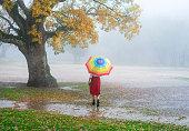 Beautiful woman posing with an umbrella under rain