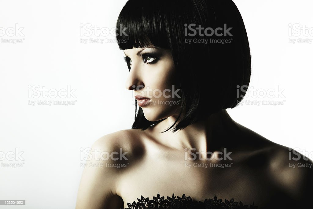 Beautiful woman posing with short black hair royalty-free stock photo