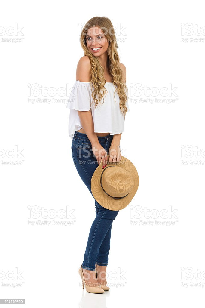 Beautiful Woman Posing With Staw Hat Lizenzfreies stock-foto