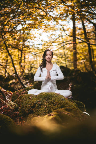 Beautiful woman practicing yoga in nature. stock photo