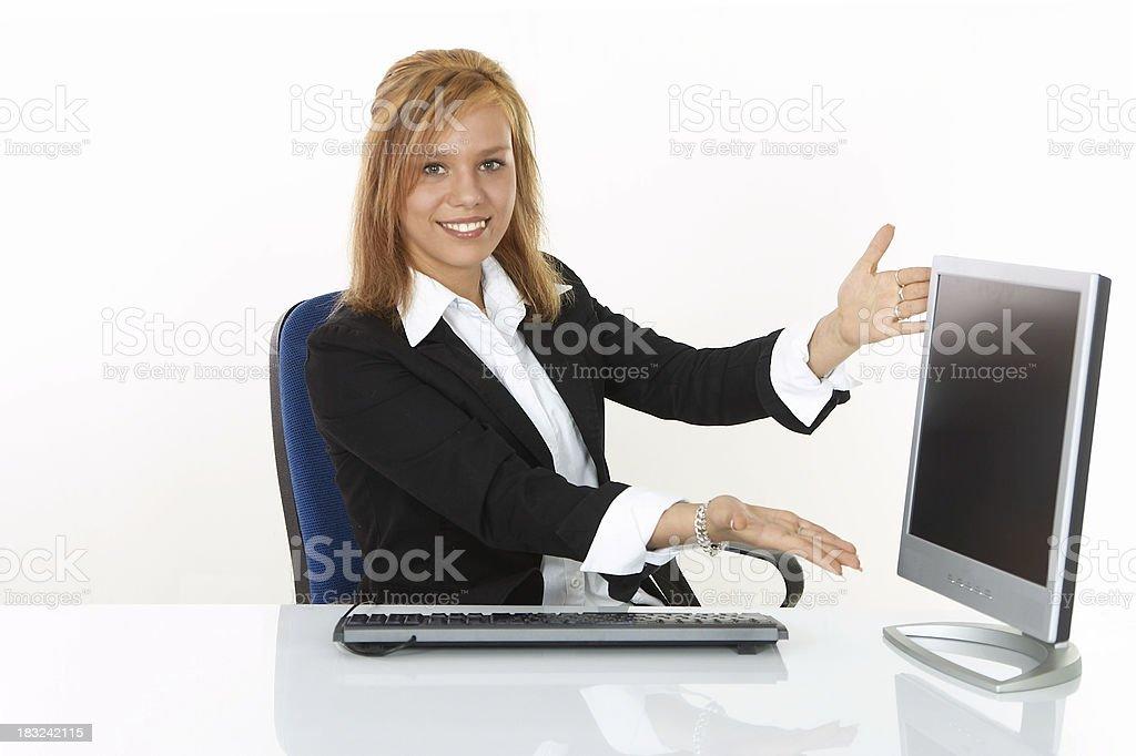 Beautiful Woman presenting Computer royalty-free stock photo