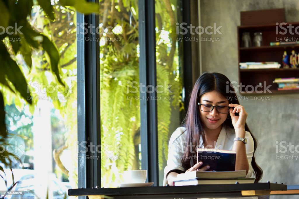 Beautiful Woman Reads A Book In A Happy Cafe Ideas For Morning Education Stock Photo Download Image Now Istock