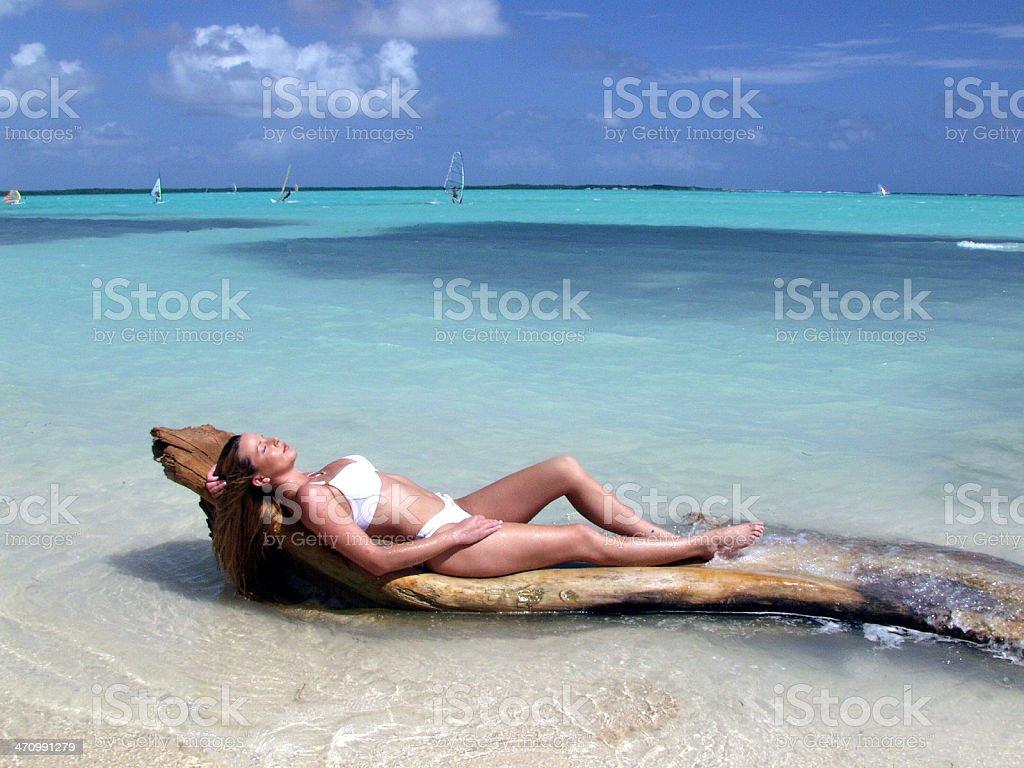 Beautiful Woman Relaxes in a Bikini royalty-free stock photo