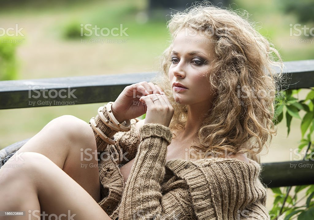 Beautiful woman resting in the garden royalty-free stock photo
