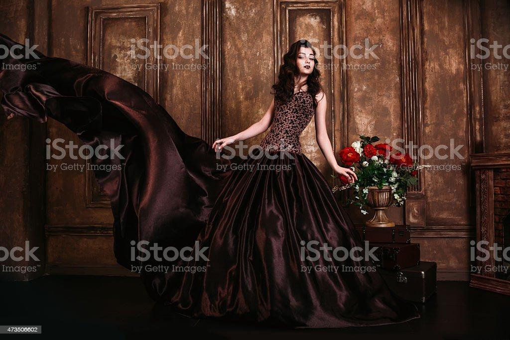 Beautiful woman retro portrait stock photo