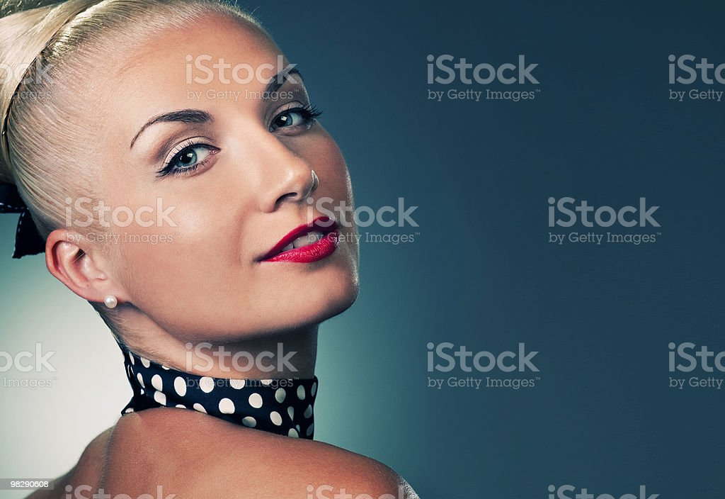 Beautiful woman retro portrait royalty-free stock photo