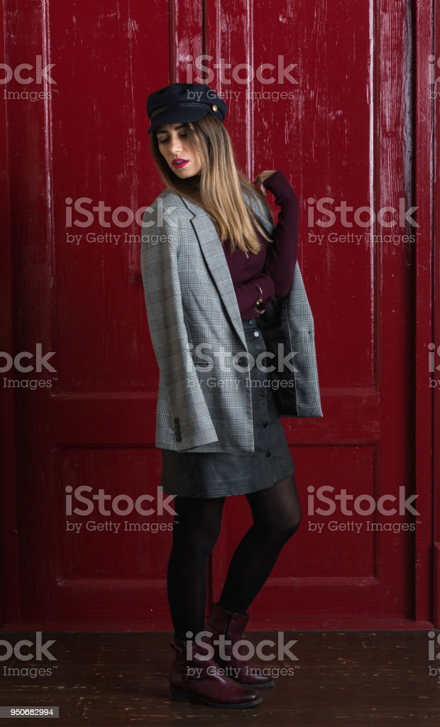 Beautiful woman sexy fashion style wear clothes posing in studio stock photo
