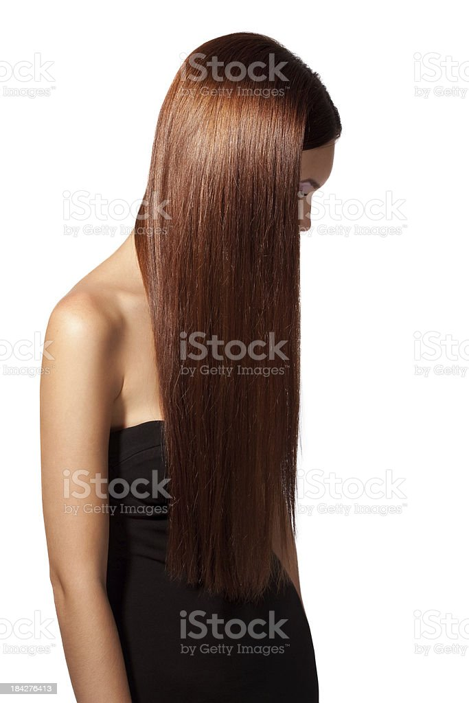 Beautiful woman showing her luxury hairs royalty-free stock photo