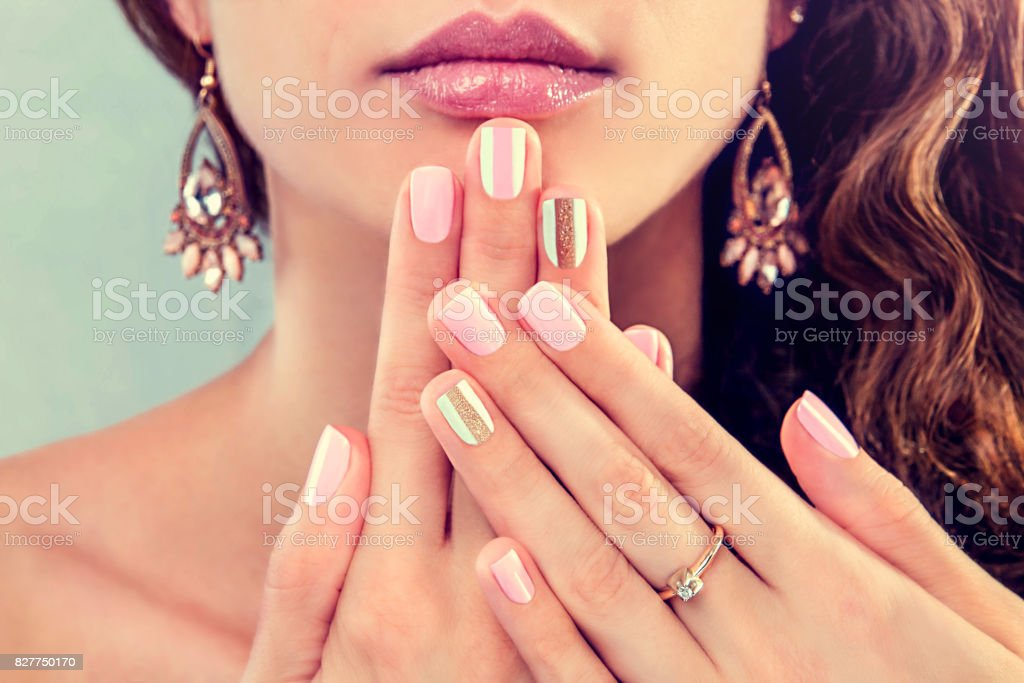 Beautiful woman showing her manicure - Royalty-free Adult Stock Photo