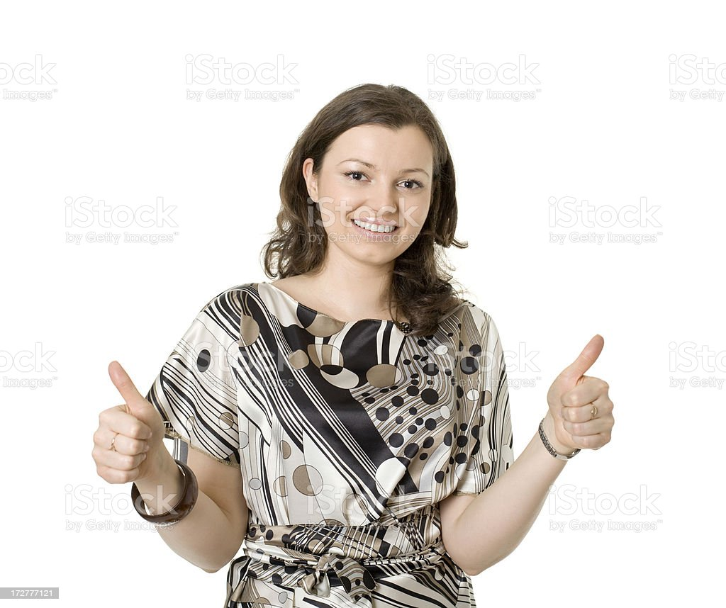 beautiful woman showing ok royalty-free stock photo