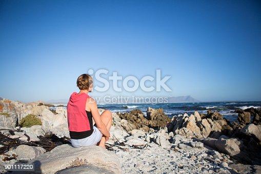 670374358 istock photo Beautiful woman sitting on the rocks 901117220
